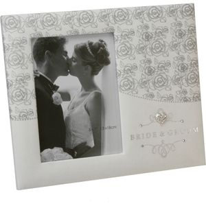 "Juliana Impressions Silver Roses Wedding Photo Frame 5"" x 7"" - Bride & Groom"