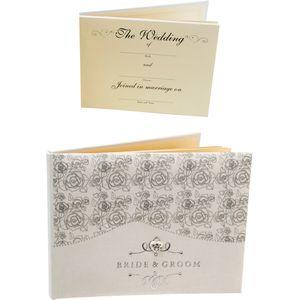 Juliana Impressions Silver Roses Wedding Guest Book - Bride & Groom
