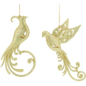 Christmas Tree Hanging Decorations - Gold Glitter Bird Pack of 2 Assorted