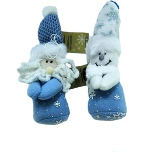 Christmas Tree Hanging Decorations - Plush Santa & Snowman Pack of 2 Assorted