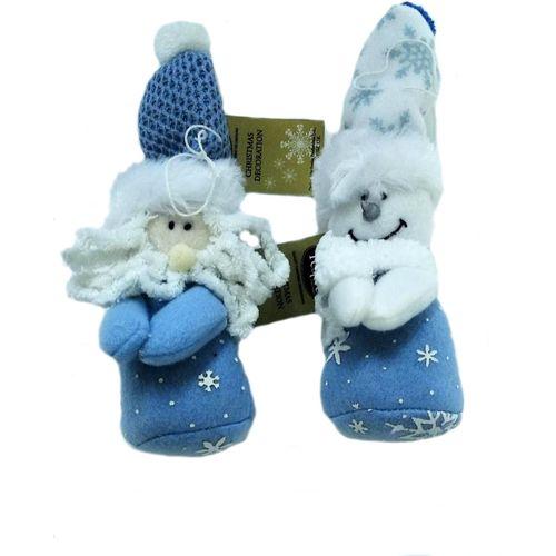 Blue & white Santa & Snowmen Plush Ornaments