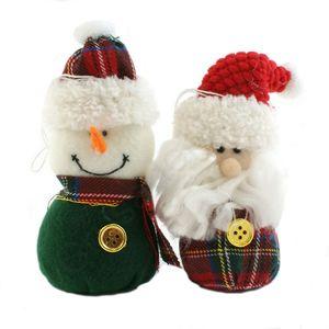 Christmas Tree Hanging Decorations - Tartan Santa & Snowman Pack of 2 Assorted