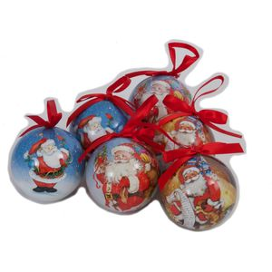 Christmas Tree Baubles - Decoupage Traditional Santa Pack of 6 Assorted