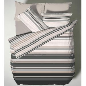 Catherine Lansfield Ross Stripe Single Bed Quilt Cover Set - Black