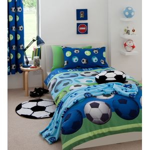 Catherine Lansfield Football Single Bed Quilt-Blue