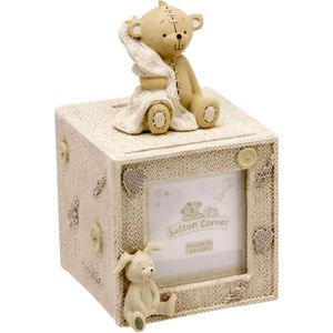 Button Corner Cube Money Box with Photo Aperture 6.5cm x 6.5cm