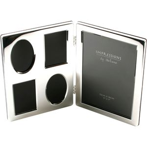 Multi silver plated double photo frame holds 5 photos