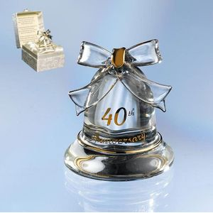 Sentiment Crystal Bell - 40th Anniversary (Ruby Wedding)