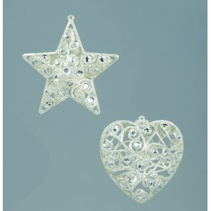 Jewelled Tree Decorations in Diamond Silver Set of 4