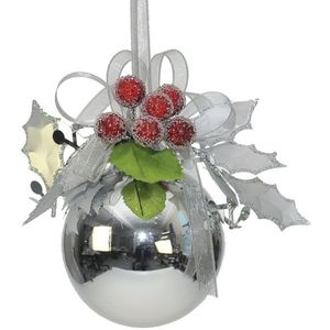 Silver Bauble with Holly Berries pack of 2