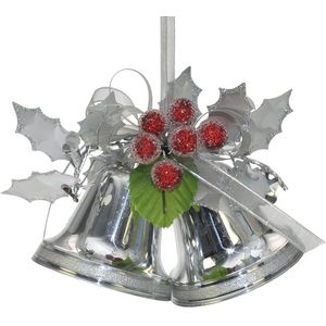 2 Silver Bells with Holly Berries Xmas Tree Decorations