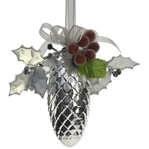 Silver Pine Cone with Holly Berries Tree Decorations x2