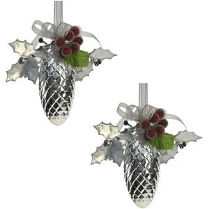 Weiste Christmas Tree Decorations Set of 2 - Silver Pine Cone Holly Berries