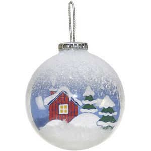 Snow Scene Hanging Christmas tree Baubles Set of 2