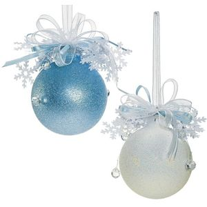 Set of Two Decorative Tree Baubles (ice blue & white)