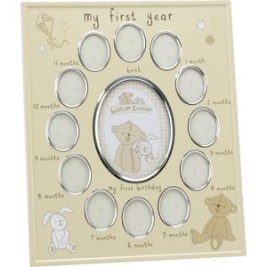 Button Corner Collage Photo Frame - My First Year