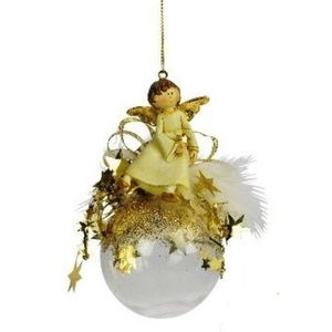 Angel on bauble Christmas Tree Decoration x2 gold