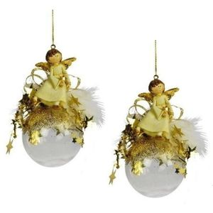 Weiste Christmas Tree Decorations Set of 2 - Angel on Clear Bauble Gold Trim