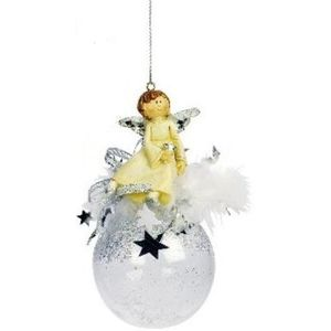 Angel on bauble Christmas Tree Decoration x2 silver