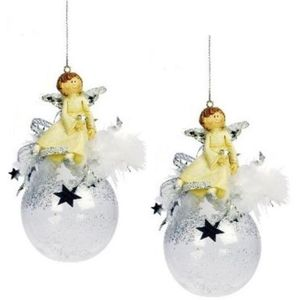 Weiste Christmas Tree Decorations Set of 2 - Angel on Clear Bauble Silver Trim