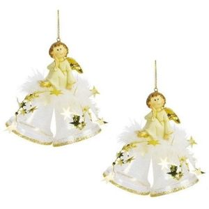 Weiste Christmas Tree Decorations Set of 2 - Angel on Mini Bells Gold Trim