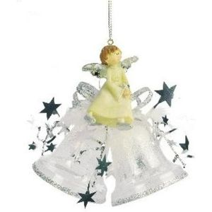 Angel on Bells Christmas Tree Decoration(silver) x2