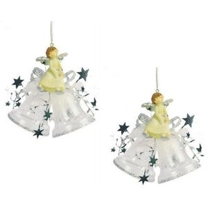 Weiste Christmas Tree Decorations Set of 2 - Angel on Mini Bells Silver Trim