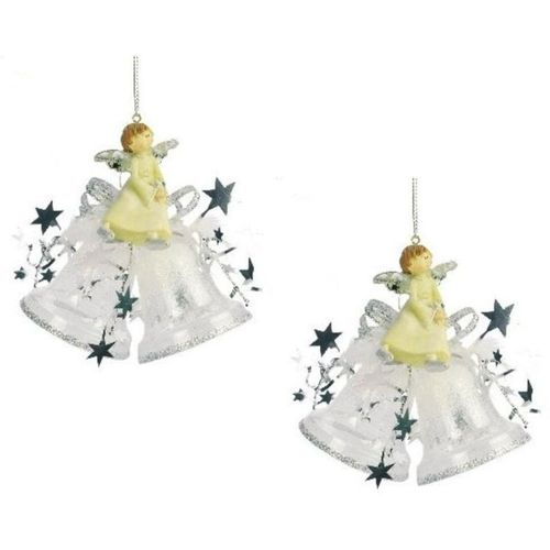 Weiste Christmas Tree Decorations Set of 2 - Angel on Bells Silver Trim