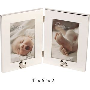 Baby Silver Plated Double Photo Frame 4x6""