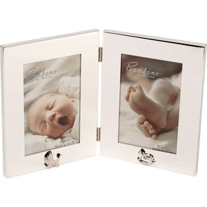 "Bambino Silver Plated Hinged Double Photo Frame 4"" x 6"""