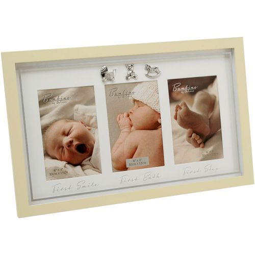 Bambino Baby Collage Photo Frame - First Smile First Bath First Step