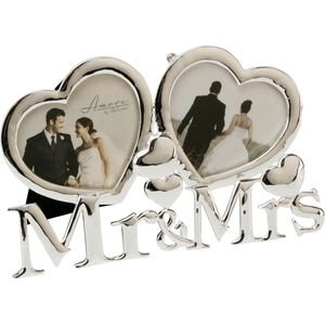 """Amore Silver Plated Heart Shaped Double Photo Frame 3"""" x 2.5"""" - Mr & Mrs"""