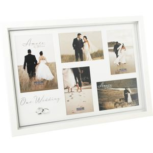Amore Wedding day Collage Photo Frame holds 5 pictures