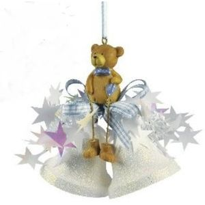 Weiste Christmas Tree Decoration - Glitter Mini Bells with Teddy Bear Blue Trim