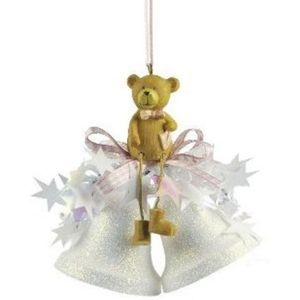 Teddy Bear on Bells Christmas Tree Decoration (pink)