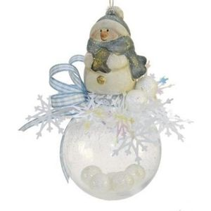 Weiste Christmas Tree Decoration - Snowman on Bauble with Blue Trim