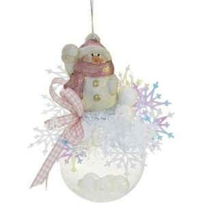 Snowman on Bauble Christmas Tree Decoration (pink)