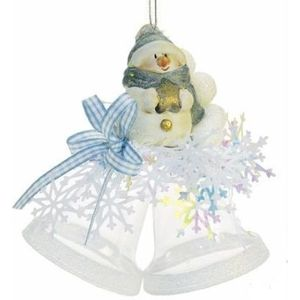 Snowman on Bells Christmas Tree Decoration (Blue)