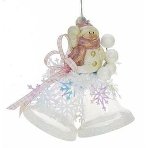 Snowman on Bells Christmas Tree Decoration (Pink)