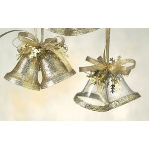 Festive Hanging Ornaments - Pack of 4 Gold Glitter Bells