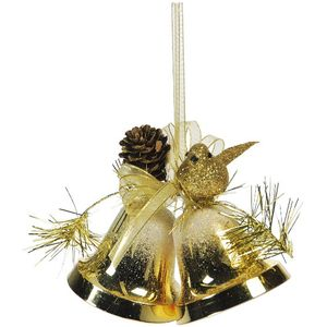 Gold Bells with Bird & Cone Xmas Tree Decorations x2