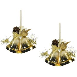 Weiste Christmas Tree Decorations Set of 2 - Gold Mini Bells Bird & Pine Cone