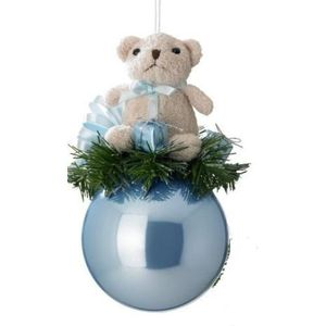 Teddy Bear on Blue Bauble Tree Ornament