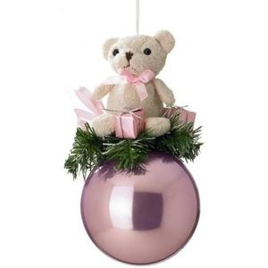 Teddy Bear on Pink Bauble Tree Ornament