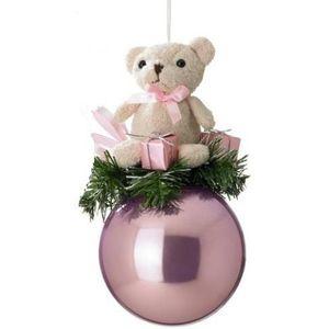 Teddy Bear on Pink Bauble Tree Ornament