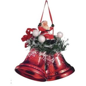 Weiste Christmas Tree Decoration - Red Mini Bells with Santa on Swing