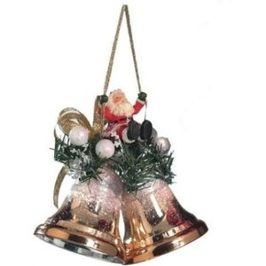 Weiste Christmas Tree Decoration - Gold Mini Bells with Santa on Swing
