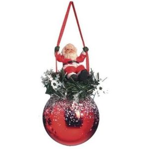 Santa on Swing Bauble Xmas Tree Decoration (red) x2