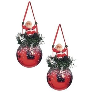 Weiste Christmas Tree Decorations Set of 2 - Red Bauble with Santa on Swing