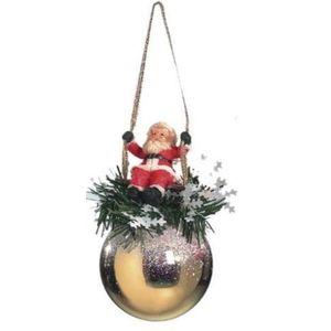 Santa on Swing Bauble Xmas Tree Decoration (gold) x2